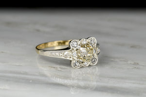 Late Victorian Two-Toned Ring with a Pillowy Old Mine Cut Center
