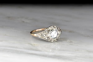 Victorian / Belle Époque GIA Rose Cut Diamond Ring in Gold and Silver