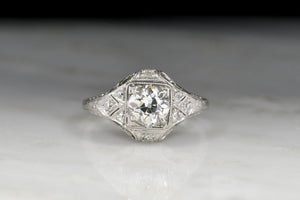 c. 1910s Ancient-Greek-Inspired (Ionic Order) Edwardian Diamond Engagement Ring