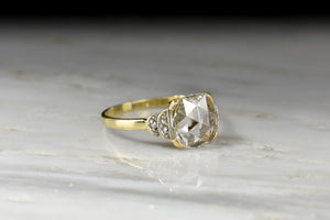 Victorian GIA Square Cushion Rose Cut Diamond Engagement Ring
