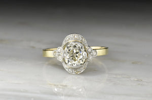 RESERVED!!! Belle Époque 1.3 Carat Old Mine Cut Diamond Engagement Ring