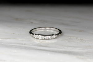 Inscribed 1937 Art Deco Platinum and Diamond Wedding or Stacking Band