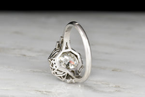 French Art Deco Old European Cut Diamond Engagement Ring with an Octagonal Halo