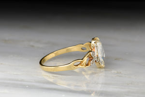 c. 1900 Art Nouveau GIA Oval Rose Cut Diamond Ring