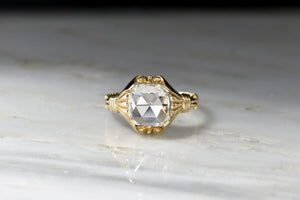 Victorian Revival GIA 1.01 Carat Cushion Rose Cut Diamond Ring