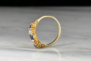 Victorian Half-Hoop Sapphire and Old European Cut Diamond Ring