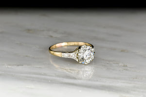 Belle Époque Gold and Platinum Engagement Ring with a GIA 1.51 Carat Diamond Center