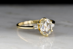 Mid-Century Oval Rose Cut Diamond Three Stone Engagement Ring