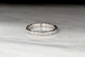 1923 Edwardian / Art Deco Platinum and Diamond Band with Hand-Engraved Orange Blossoms