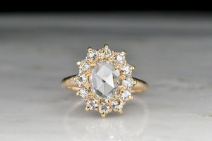 Victorian Oval Rose Cut Diamond Cluster Ring