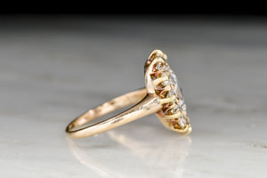 Late Victorian Oval Rose Cut Diamond Cluster Ring