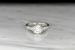 Ornate Edwardian Platinum Engagement Ring with a GIA Old European Cut Diamond Center