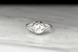 Ornate Late Edwardian Engagement Ring w/a GIA 1.13 Carat Old Mine Cut Diamond Center