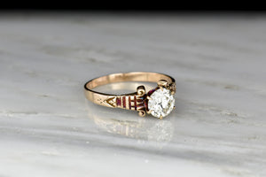 Victorian Six-Prong Engagement Ring with Greek Capital Shoulders