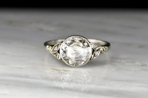 Antique White Gold Diamond Ring with a 1.09 Carat Rose Cut Diamond Center
