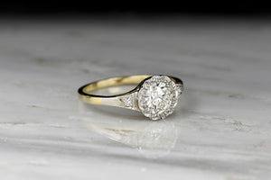 Belle Époque Diamond Ring with a Scalloped Illusion Halo