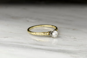 Post-Victorian (1921) Six-Prong Gold and Platinum Solitaire Ring