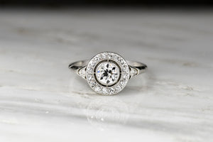 Single Cut Diamond Halo Engagement Ring with an Old Euro Center