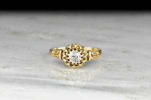 Victorian Twelve-Prong Buttercup Solitaire Engagement Ring
