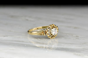 Victorian Solitaire Engagement Ring with a Unique Multi-Prong Buttercup Basket