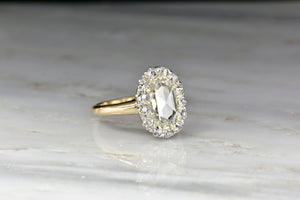 Victorian Cluster Ring with a GIA 1.24 Carat Oval Rose Cut Diamond Center