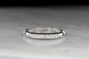 Art Deco / Mid-Century Platinum and Diamond Band with Ornamented Shoulders