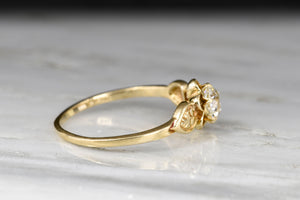 RESERVED!!! Post-Victorian Solitaire Buttercup Engagement Ring with an Old European Cut Diamond Center