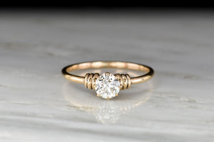 Late Victorian Rose Gold Solitaire Old European Cut Diamond Engagement Ring
