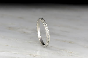 c. 1920s Single Cut Diamond Eternity Band with Ornate Engraving