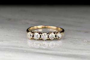 Late Victorian 5-Stone Antique Cut Diamond Half Hoop Band