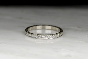 Late Art Deco / Early Mid Century Diamond Eternity Band with Maple Seed Engraving