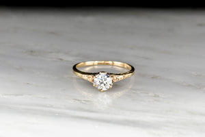 Late Victorian Six-Prong Solitaire with a GIA Old European Cut Diamond