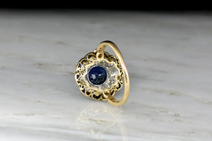 Stunning Antique Victorian Old Cut Diamond, Sapphire, and Blue Enamel Cluster Ring