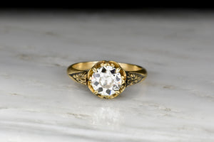 Victorian Buttercup Engagement Ring with a GIA 1.86 Carat Old European Cut Diamond