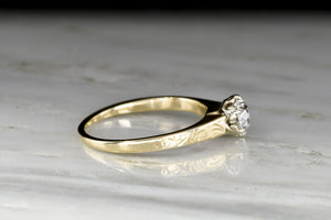 Classic WWII-Era Victorian Revival Two Toned Solitaire Engagement Ring