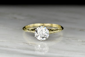 c. 1900 Green Gold and Platinum Old European Cut Diamond Solitaire Engagement Ring