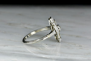 Late Edwardian / Early Art Deco Shield Ring in Platinum and White Gold