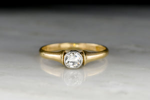 WWI-Era Gold and Platinum Solitaire OMC Engagement Ring