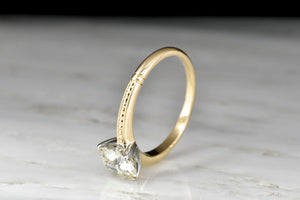 Vintage Two-Toned Gold Solitaire Engagement Ring with a GIA 1.53 Carat Late Transitional Cut Diamond