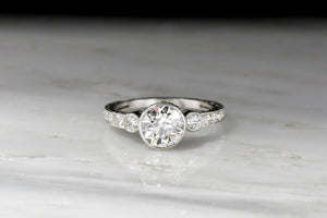 Ornate Edwardian Platinum Engagement Ring with a GIA 1.59 Carat Old European Cut Diamond Center