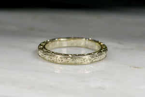 WWI (Dated 1917) Unplated White Gold Wedding Band with Hand Engraving
