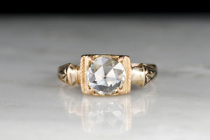 c. 1880s Victorian Gold Ring with a Round Rose Cut Diamond Center