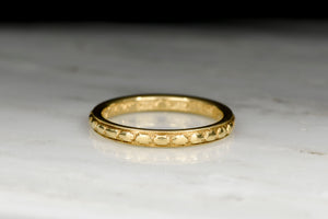 Pre-WWI (Dated 1913) 18K Gold Wedding Band or Stacking Ring