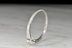 Petite 1920s Late Edwardian / Art Deco Platinum and Diamond Ring