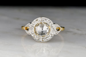 Belle Époque Two-Toned Ring with a Tall-Domed Antique Rose Cut Diamond Center