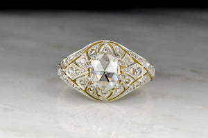 Antique Victorian / Belle Epoque oval rose cut diamond ring