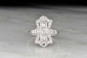 Vintage Art Deco Dinner Ring with Transitional and Single Cut Diamonds
