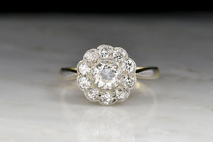 Belle Époque 18K Gold and Platinum Old European Cut Diamond Cluster Ring