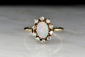 Victorian Opal and Antique Single Cut Diamond Cluster Ring