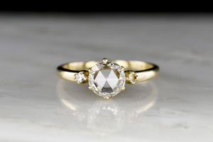 Vintage Three-Stone Engagement Ring with a Round Rose Cut Diamond Center